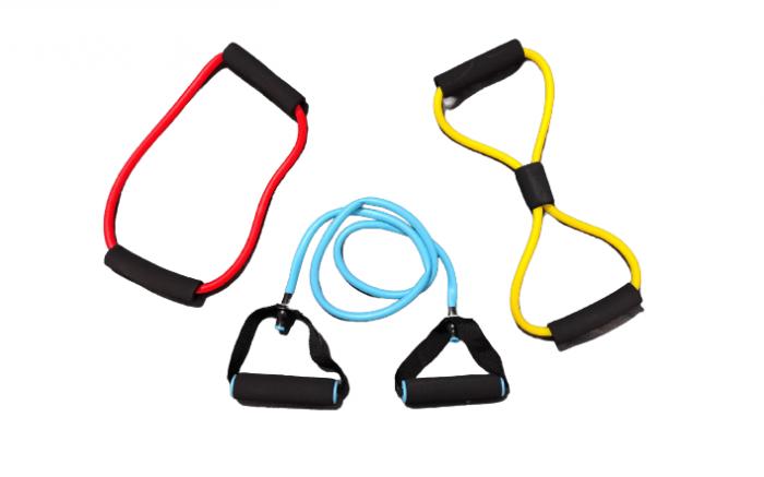 Set 3 Extensoare, Corzi din Latex Rezistent Extensibile si Elastice pentru Exercitii Fizice, Fitness, Aerobic, Pilatess, Yoga, Premium [0]