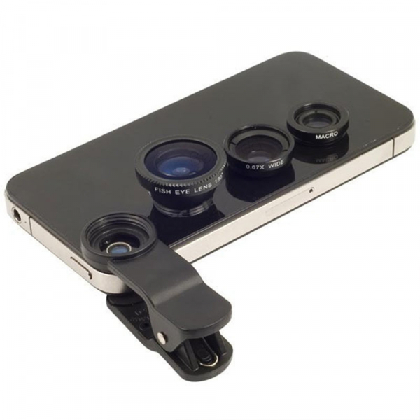 Set Lentile Profesionale 3in1 pentru Telefon sau Tableta 180 Fisheye, 10X Macro Lens, 0.65X Wide Angle Lentila Foto Video Lentile Foto Video Lentile pentru telefon Fisheye [15]