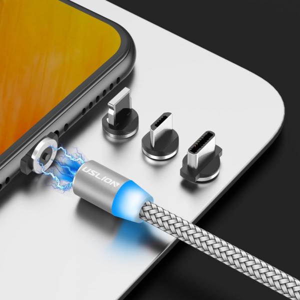 Cablu Textil USB Fast & Safe Charging 3.6A cu Mufa Magnetica 360° Cablu de date telefoane Cablu de incarcare telefon 38