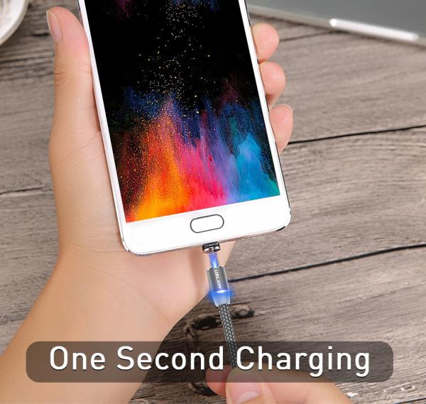 Cablu Textil USB Fast & Safe Charging 3.6A cu Mufa Magnetica 360° Cablu de date telefoane Cablu de incarcare telefon 40