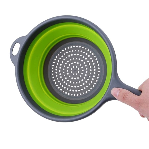 Strecuratoare Pliabila din Silicon cu Maner, Diametru 18cm, Verde, Premium [3]