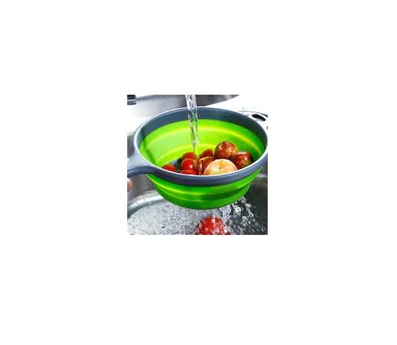 Strecuratoare Pliabila din Silicon cu Maner, Diametru 18cm, Verde, Premium [1]