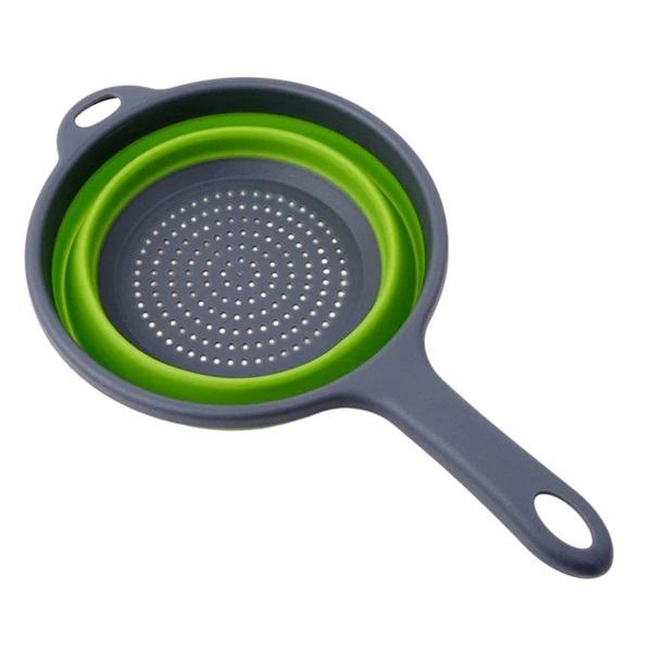 Strecuratoare Pliabila din Silicon cu Maner, Diametru 22cm, Verde, Premium [0]
