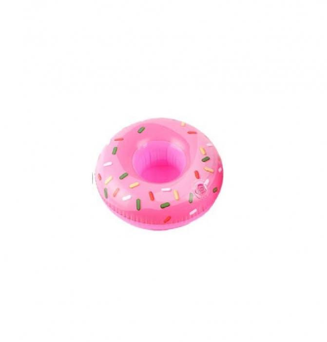 Suport Gonflabil Plutitor pentru Apa si Piscina, Compatibil Doza sau Pahar, Gogoasa Roz [0]