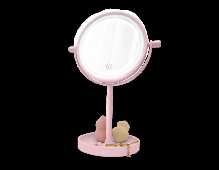 Oglinda de Masa pentru Machiaj si Make Up, cu Lumina LED Integrata, Wireless, cu Baterii, Buton Touch Screen On/Off, Premium, Roz [3]