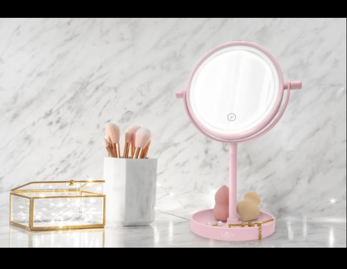 Oglinda de Masa pentru Machiaj si Make Up, cu Lumina LED Integrata, Wireless, cu Baterii, Buton Touch Screen On/Off, Premium, Roz [2]