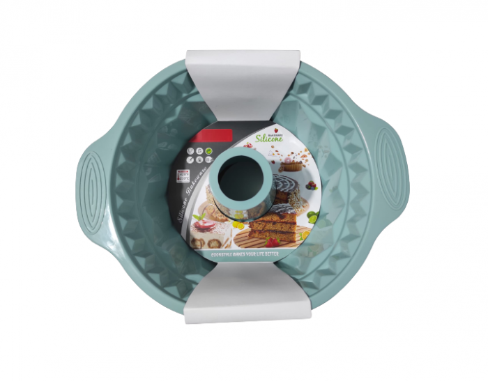 Forma pentru Tort si Prajituri din Silicon Non-Stick, Turcoaz, Calitate Premium, 24cm [4]