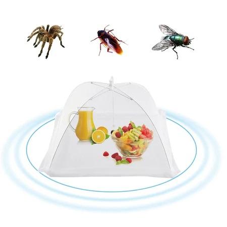 Umbrela de Protectie Impotriva Insectelor, Furnicilor si Gandacilor pentru Farfurii, Caselore si Alimente, Alb, 31cm x 31cm [0]