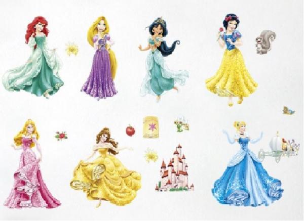 Set Sticker Autocolant 7 Printese Ariel, Rapunzel, Alba ca Zapada, Jasmine, Cenusareasa, Frumoasa din Pardurea Adormita, Frumoasa si Bestia, Bell 4
