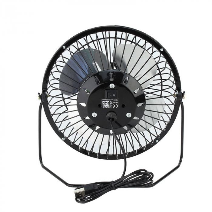 Ventilator de Birou si Masa, Metalic cu Alimentare prin USB, Negru, Diametru 13 cm, Premium [5]
