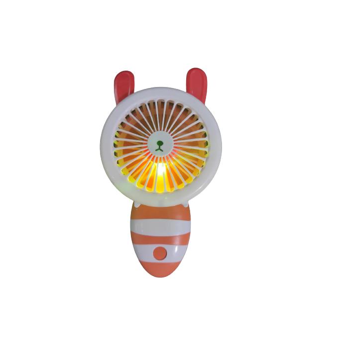 Ventilator de Mana Foarte Puternic cu Acumulator Intern si Incarcare la USB, cu Lumini LED, Pliabil, Premium, Portocaliu [7]