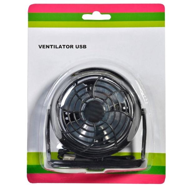 Ventilator de Birou cu Alimentare prin USB sau Baterii, Negru, Cablu 95cm [0]