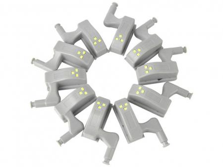 Set 2x Lampa cu Bec LED smd pentru Balamale Mobila 12V, Baterii Incluse, Universal, Gri [12]