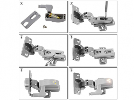 Set 2x Lampa cu Bec LED smd pentru Balamale Mobila 12V, Baterii Incluse, Universal, Gri [4]