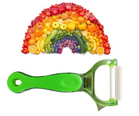 Cutit Feliator pentru Decojit Fructe si Legume cu Lama din Ceramica 5cm, Verde, Premium [0]