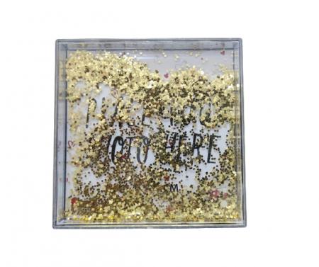 Rama Foto de Birou cu Sclipici Aurii Miscatori, din ABS Transparent pentru o Fotografie 10.4 x 10.4 cm, Model Deosebit1