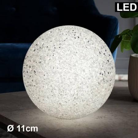 Lampa LED Decorativa cu Lumina Calda, Bulgare de Cristal cu Baterii Incluse, Alb0