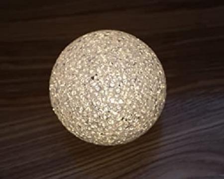 Lampa LED Decorativa cu Lumina Calda, Bulgare de Cristal cu Baterii Incluse, Alb3