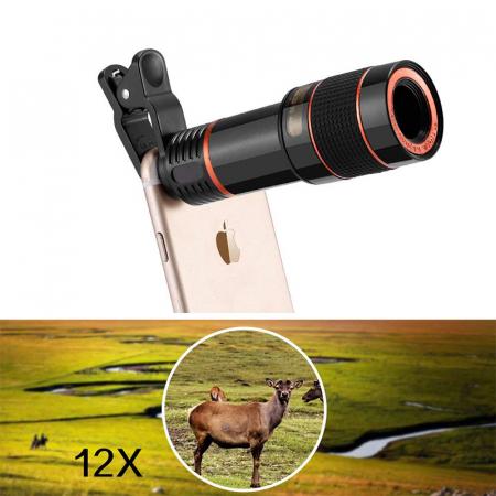 Lentila Optica ZOOM pentru Telefon - Telescop Monoclu 12x10