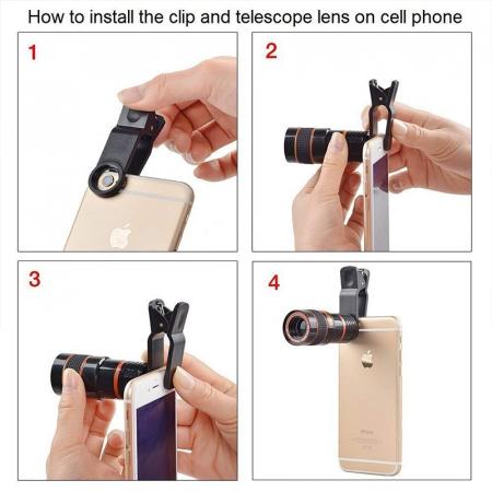 Telescop Lentila Optica Zoom 12x  Pentru Telefon Mobil sau Tableta  Obiectiv telefon Lentila Telefon  Fotografii  poze telefon [1]