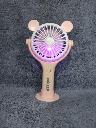 Ventilator 2in1 de Mana sau Birou, Foarte Puternic cu Acumulator Intern si Incarcare la USB, cu Lumini LED, Premium, Roz [3]