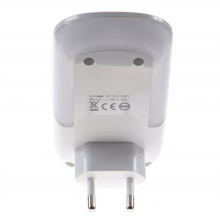 Lampa de Veghe cu Senzor de Lumina, tip Mouse pentru Priza, Lumina Alba, Consum Redus 1W, Universal, Alb3