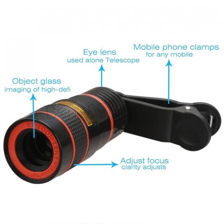 Lentila Optica ZOOM pentru Telefon - Telescop Monoclu 12x6