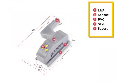 Set 2x Lampa cu Bec LED smd pentru Balamale Mobila 12V, Baterii Incluse, Universal, Gri [7]