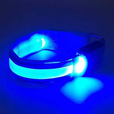 Borseta Sport Neopren pentru Alergare, cu Buzunar pentru Telefon si Banda Lumina LED, Reflectorizanta, 1 Compartiment Mare, Curea Elastica Reglabila, Impermeabila, Albastru0