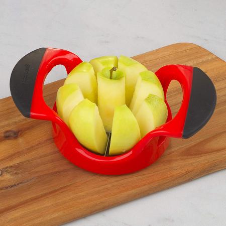 Cutit Feliator Fructe pentru Taiat Mere si Pere in 8 Felii Egale, Premium din PVC si Inox, Rosu [3]