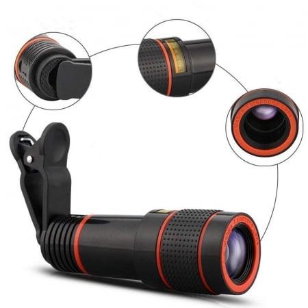Telescop Lentila Optica Zoom 12x  Pentru Telefon Mobil sau Tableta  Obiectiv telefon Lentila Telefon  Fotografii  poze telefon [0]