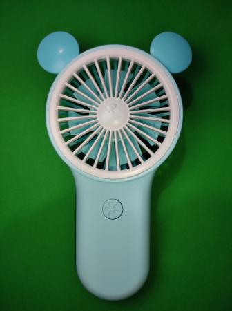 Ventilator de Mana Foarte Puternic cu Acumulator Intern si Incarcare la USB, cu Lumini LED, Premium, Albastru [2]