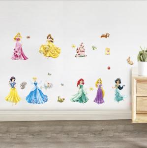Set Sticker Autocolant 7 Printese Ariel, Rapunzel, Alba ca Zapada, Jasmine, Cenusareasa, Frumoasa din Pardurea Adormita, Frumoasa si Bestia, Bell2