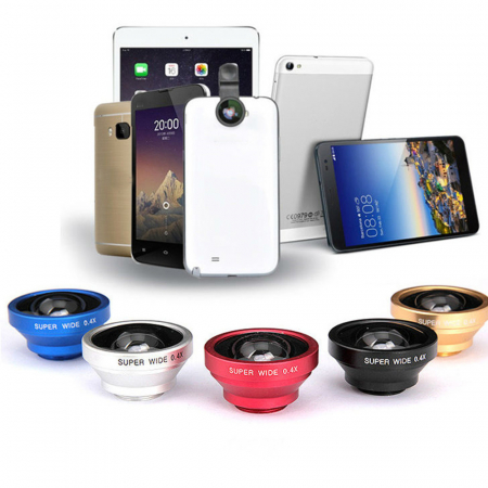 Set Lentile Profesionale 3in1 pentru Telefon sau Tableta 180 Fisheye, 10X Macro Lens, 0.65X Wide Angle Lentila Foto Video Lentile Foto Video Lentile pentru telefon Fisheye [1]