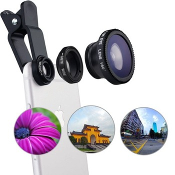 Set Lentile Profesionale 3in1 pentru Telefon sau Tableta 180 Fisheye, 10X Macro Lens, 0.65X Wide Angle Lentila Foto Video Lentile Foto Video Lentile pentru telefon Fisheye [3]