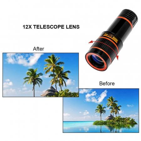 Lentila Optica ZOOM pentru Telefon - Telescop Monoclu 12x9
