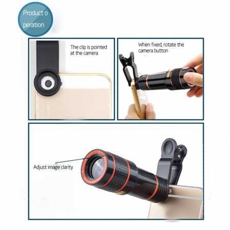 Telescop Lentila Optica Zoom 12x  Pentru Telefon Mobil sau Tableta  Obiectiv telefon Lentila Telefon  Fotografii  poze telefon [8]