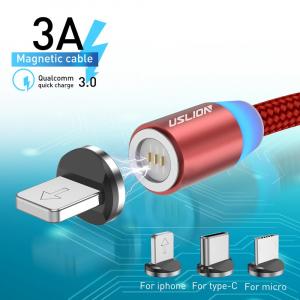 Cablu USB Textil Fast Charge cu Mufa Magnetica 360° - USLION10