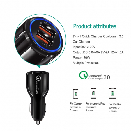 Incarcator Auto USB Fast Charge 3.1A & LED Blue6