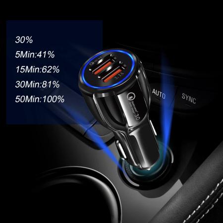 Incarcator Auto USB Fast Charge 3.1A & LED Blue11