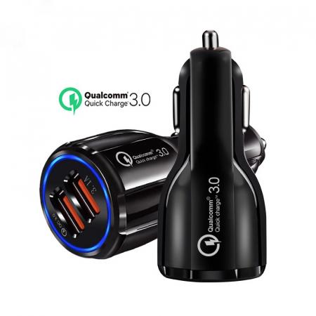 Incarcator Auto USB Fast Charge 3.1A & LED Blue4