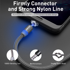 Cablu USB Textil Fast Charge cu Mufa Magnetica 360° - USLION43