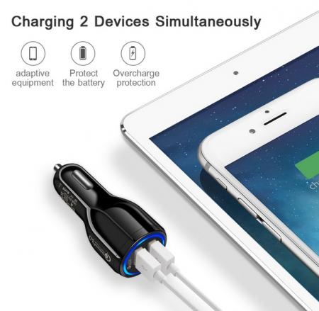 Incarcator Auto USB Fast Charge 3.1A & LED Blue7