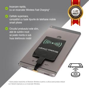 Adaptor Incarcare Wireless pentru Telefon sau Tableta cu Mufa USB Tip C - Fast Charge3