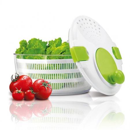 Bol cu Centrifuga pentru Amestecat Salata, Legume si Fructe, Capacitate Mare 4.4L, Capac si Strecuratoare cu Actionare Manuala [0]