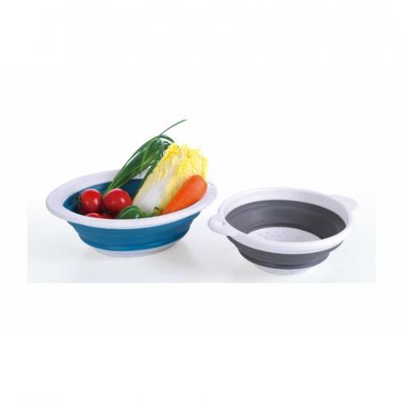 Bol cu Strecuratoare Pliabil 2in1 pentru Spalat Fructe, Legume, Salata si Paste, din PVC si Silicon Profesional [4]