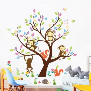 Sticker Decorativ Autocolant Autoadeziv Copac cu Maimute, Veverite, Arici si Pasari pentru Camera Copilului0
