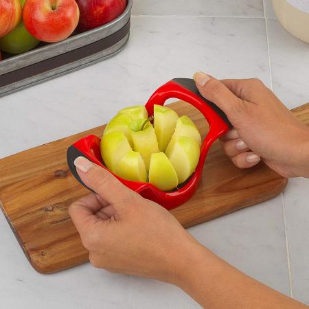 Cutit Feliator Fructe pentru Taiat Mere si Pere in 8 Felii Egale, Premium din PVC si Inox, Rosu [0]