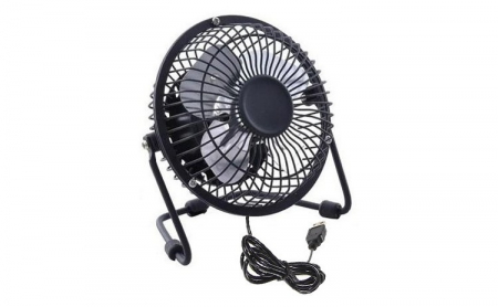 Ventilator de Birou si Masa, Metalic cu Alimentare prin USB, Negru, Diametru 13 cm, Premium [1]