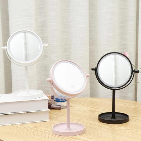 Oglinda de Masa pentru Machiaj si Make Up, cu Lumina LED Integrata, Wireless, cu Baterii, Buton Touch Screen On/Off, Premium, Roz [1]